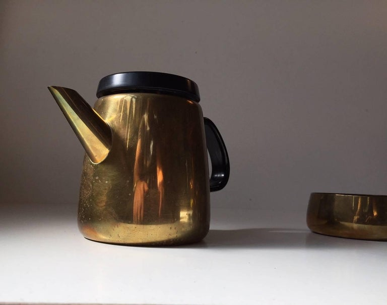 Danish Modern Brass Tea Set by Henning Koppel for Georg Jensen, 1950s In Good Condition For Sale In Esbjerg, DK