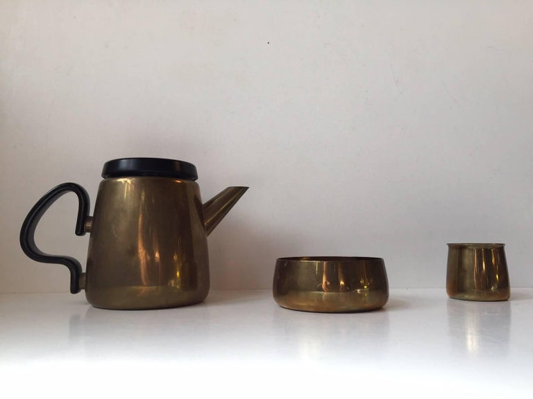 Danish Modern Brass Tea Set by Henning Koppel for Georg Jensen, 1950s For Sale 1