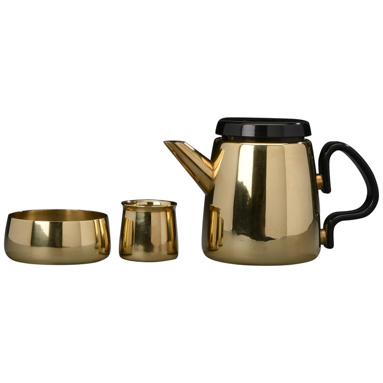Danish Modern Brass Tea Set by Henning Koppel for Georg Jensen, 1950s For Sale