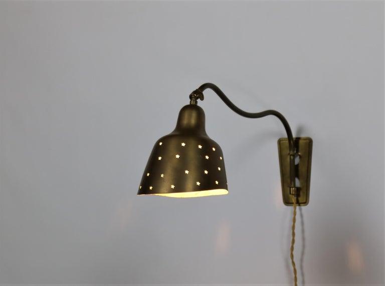 Scandinavian Modern Danish Modern Brass Wall Lamp Made at Fog & Mørup Copenhagen, 1950s For Sale