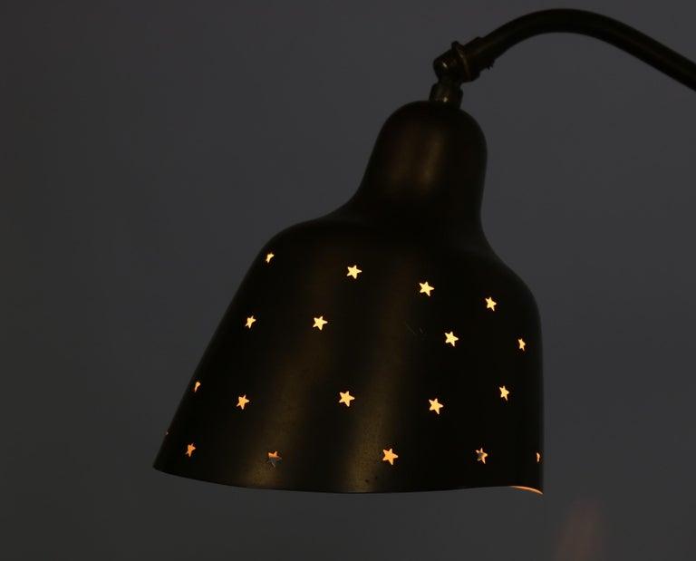 Lacquer Danish Modern Brass Wall Lamp Made at Fog & Mørup Copenhagen, 1950s For Sale