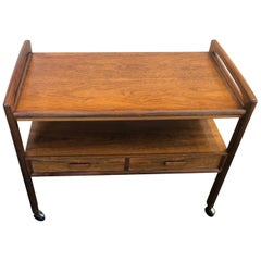 Danish Modern Brazilian Rosewood Bar / Tea / TV Cart by Arrebo Mobler