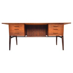 Danish Modern Brazilian Rosewood Executive Desk with Rotating Bar