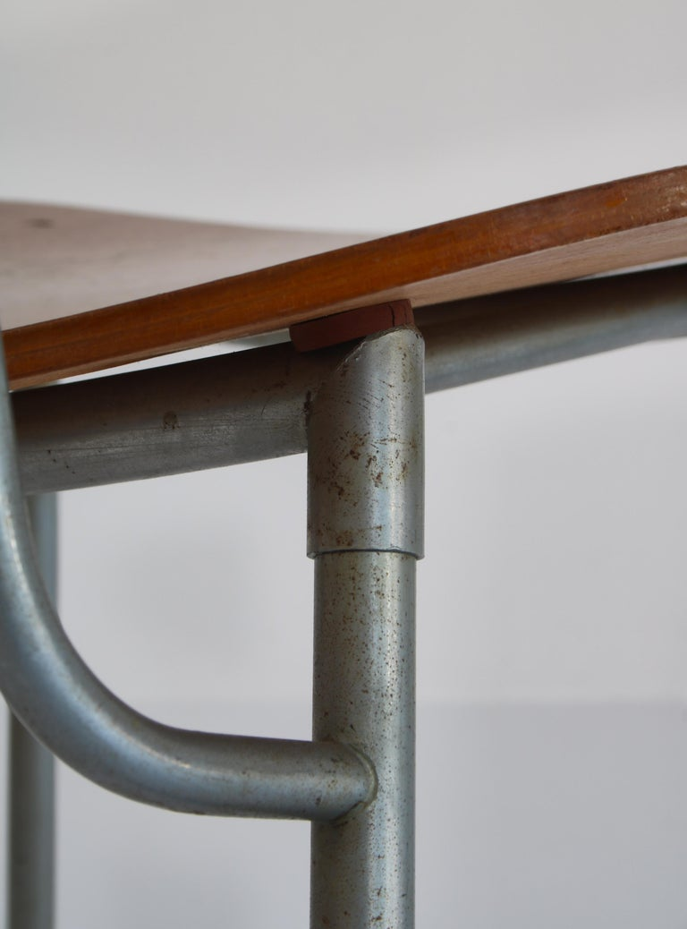 Danish Modern Børge Mogensen Dining Chairs in Steel and Plywood, 1953 For Sale 7
