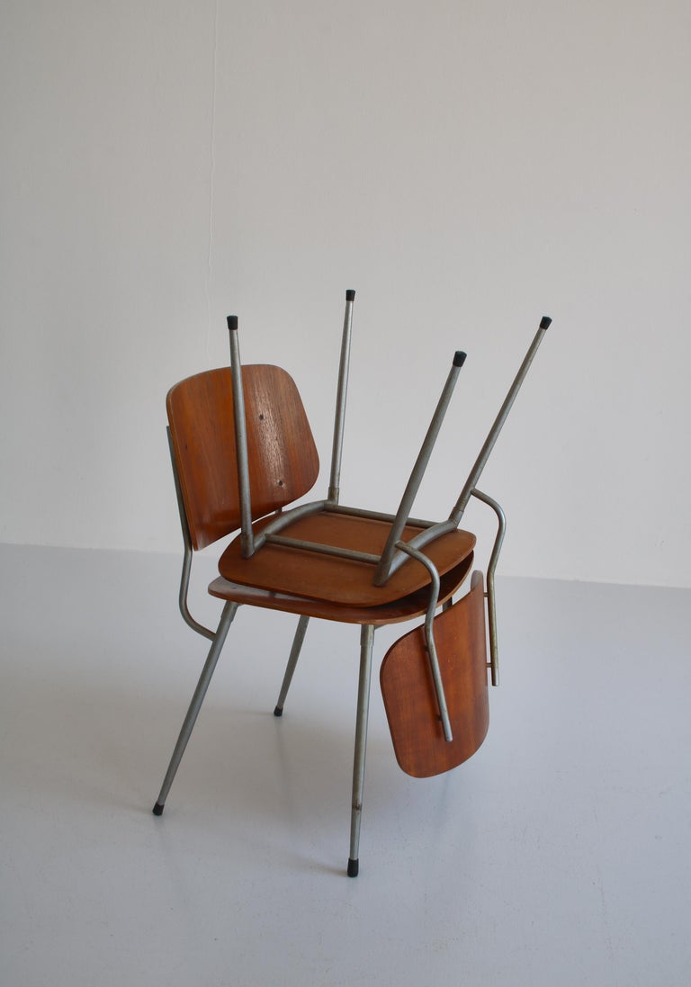 Danish Modern Børge Mogensen Dining Chairs in Steel and Plywood, 1953 For Sale 14