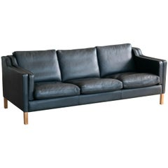 Danish Modern Børge Mogensen Model 2213 Style Sofa in Black Leather by Stouby