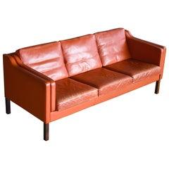 Danish Modern Børge Mogensen Model 2213 Style Sofa in Cognac Leather by Stouby