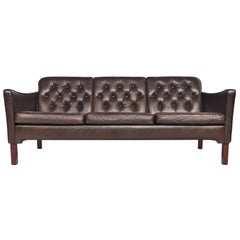 Danish Modern Brown Leather Button Tufted Sofa