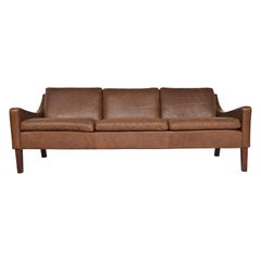 Danish Modern Brown Leather Tapered Sofa