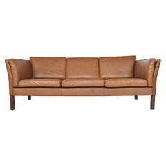 Danish Modern Brown Leather Three-Seat Sofa