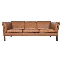 Danish Modern Brown Leather Three-Seat Sofa