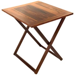 Danish Modern Campaign Style Rosewood Folding Cocktail Table