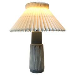 Danish Modern Ceramic Table Lamp with Stripes by Elisabeth Loholt, 1950s