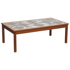 Danish Modern Ceramic Tile Teak Coffee Table by Ox Art, 1979, Signed