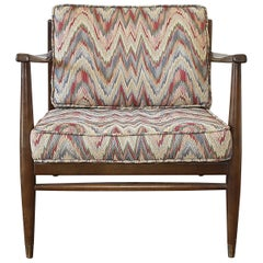 Danish Modern Chair with Flame Stitch Upholstered Cushions