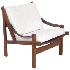 Danish Modern Chair with Leather Strap Arms