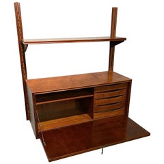 Danish Modern Child's Hanging Fall Front Desk with Shelf