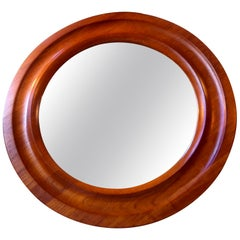Danish Modern Circular Wall Mirror in Teak by Pedersen & Hansen, circa 1960