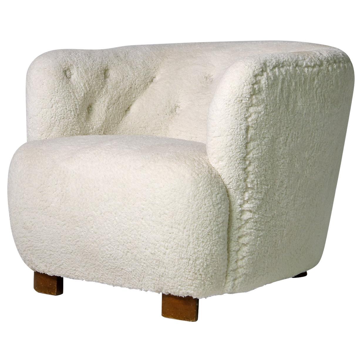 Danish Modern Clam Chair, Lounge, 1950s Teddy Fur & Leather, Sheepskin, Denmark
