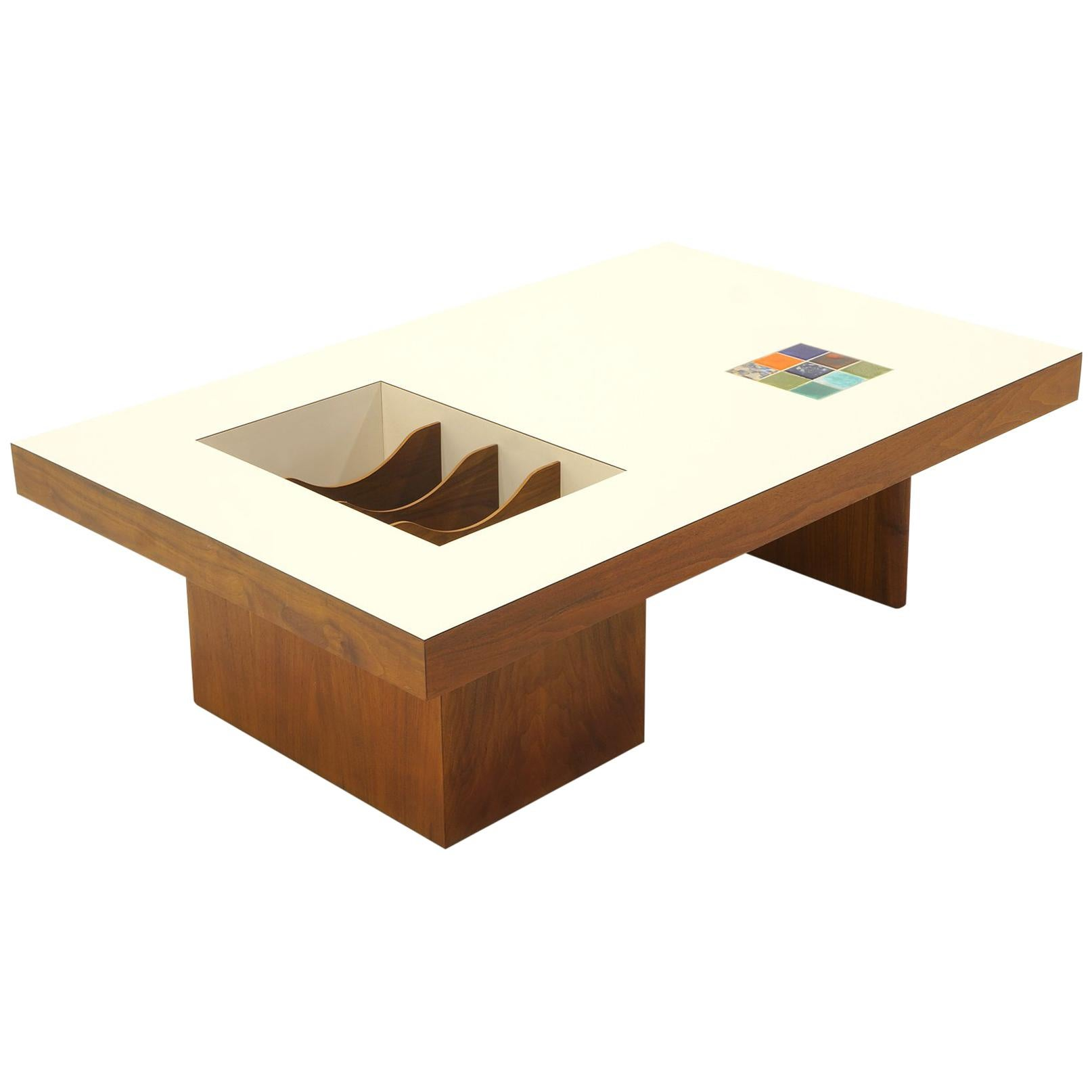 Danish Modern Coffee Table With Built In Magazine / Album Storage, Tile  Inlay