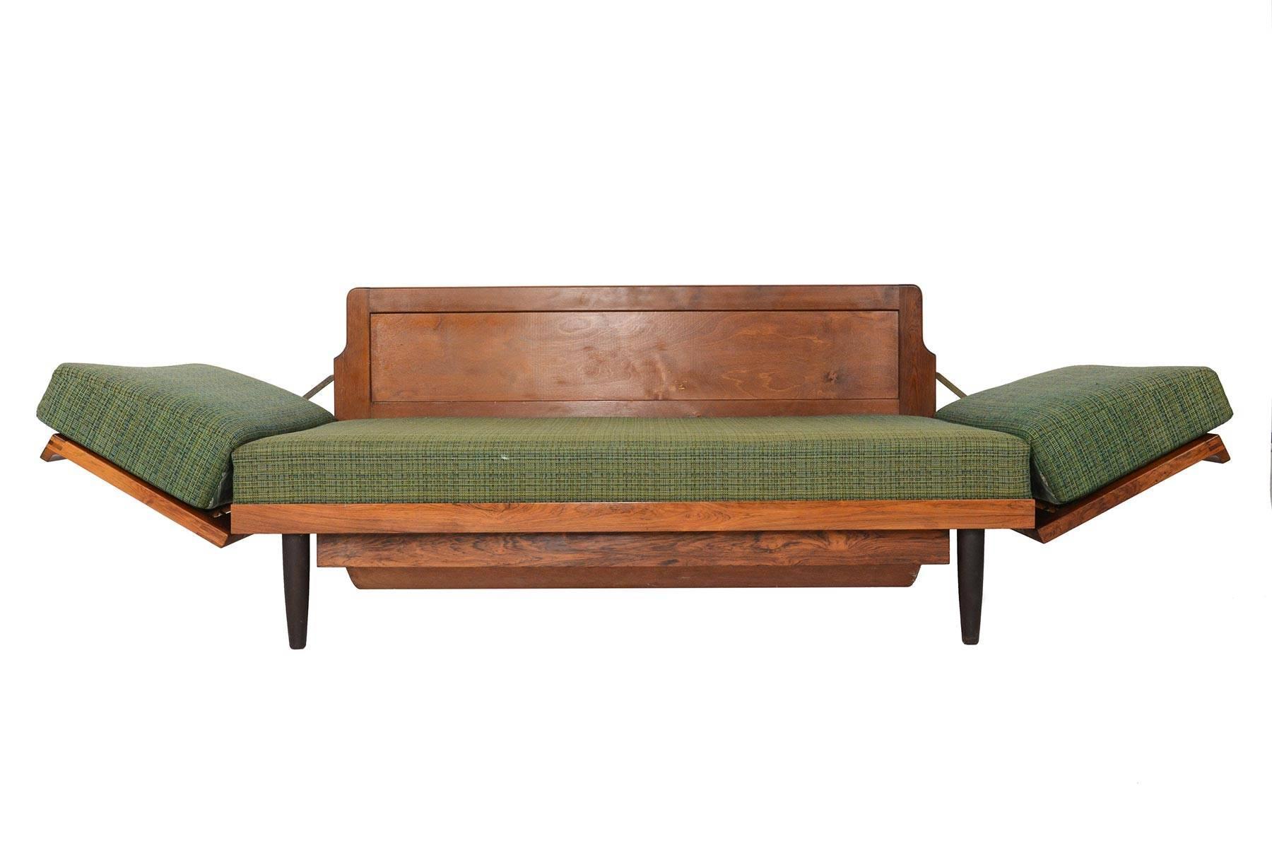 Scandinavian Modern Danish Modern Convertible Daybed Sofa In Brazilian  Rosewood For Sale