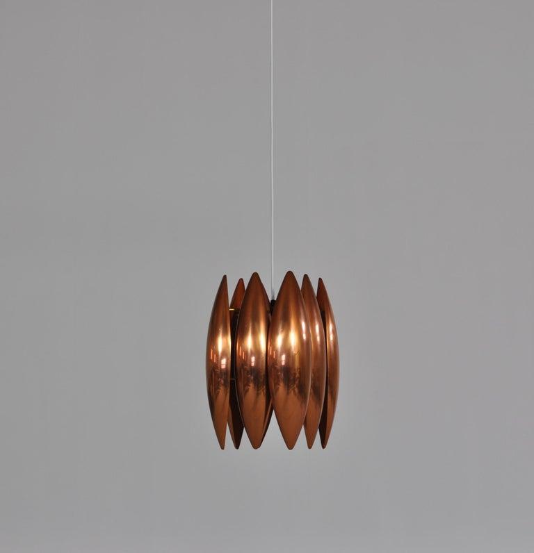 Mid-20th Century Danish Modern Copper Pendant by Jo Hammerborg for Fog & Mørup, 1960s For Sale