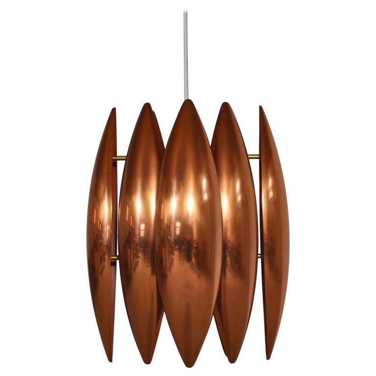 Danish Modern Copper Pendant by Jo Hammerborg for Fog & Mørup, 1960s For Sale