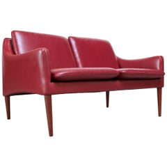 Danish Modern Cranberry Leather Settee by Hans Olsen