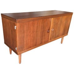 Danish Modern Credenza Cabinet with Fancy Hinges and Sculpted Pig Nose Pulls