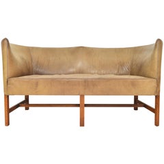 Danish Modern Curved Leather and Oak Loveseat