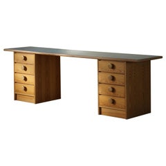 Danish Modern Desk in Pine and Blue Formica, 1970s