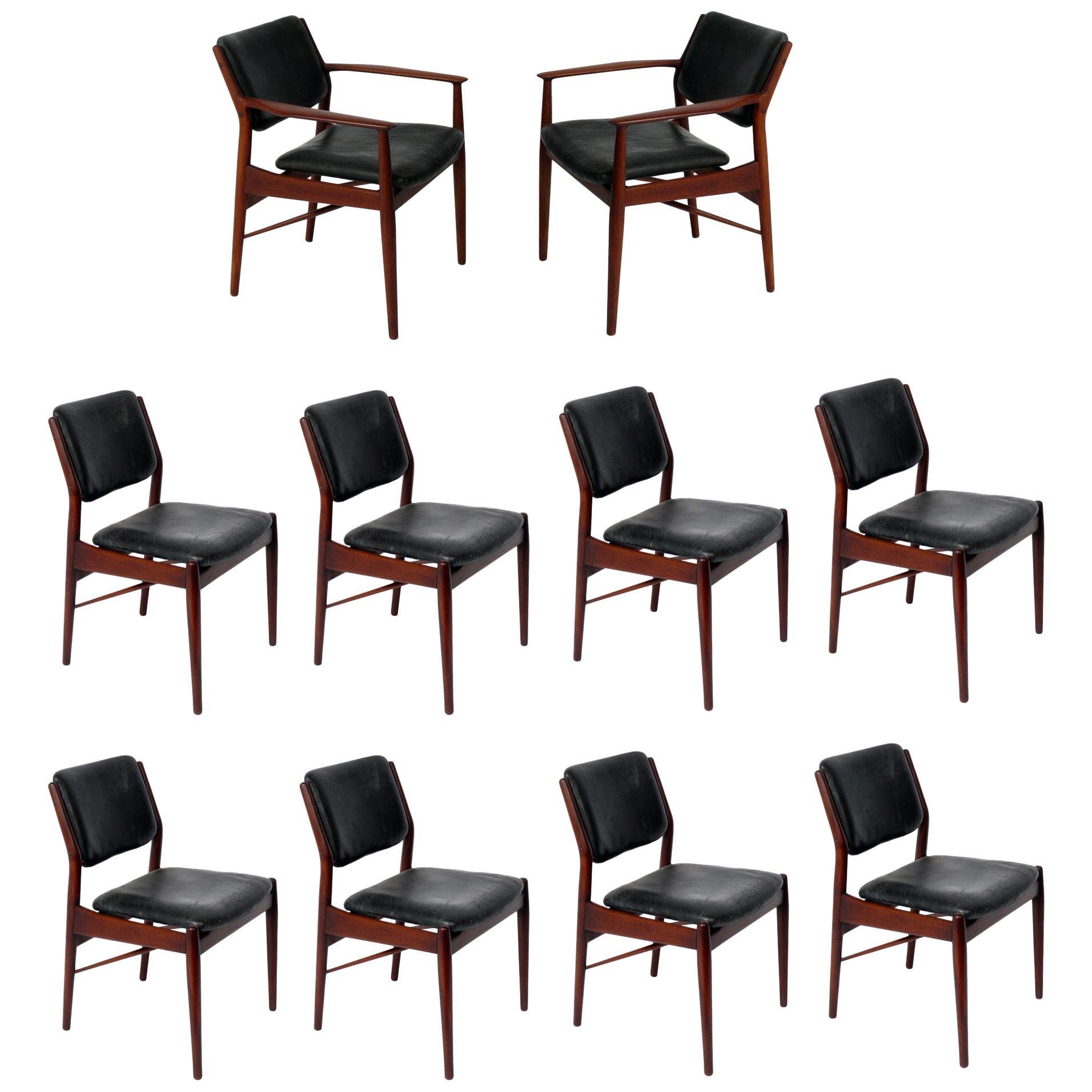 Danish Modern Dining Chairs by Arne Vodder Set of Ten