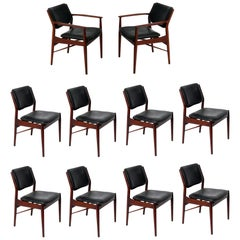 Danish Modern Dining Chairs by Arne Vodder Set of Ten