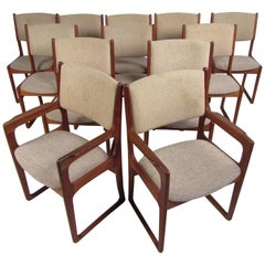 Danish Modern Dining Chairs by Benny Linden, Set of 12