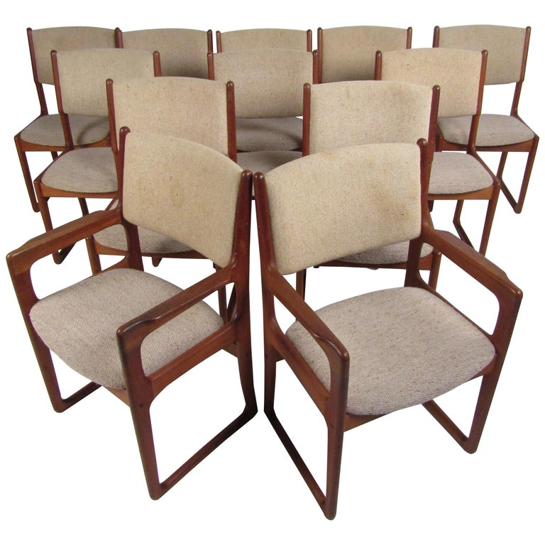Danish Modern Dining Chairs by Benny Linden, Set of 12 For Sale
