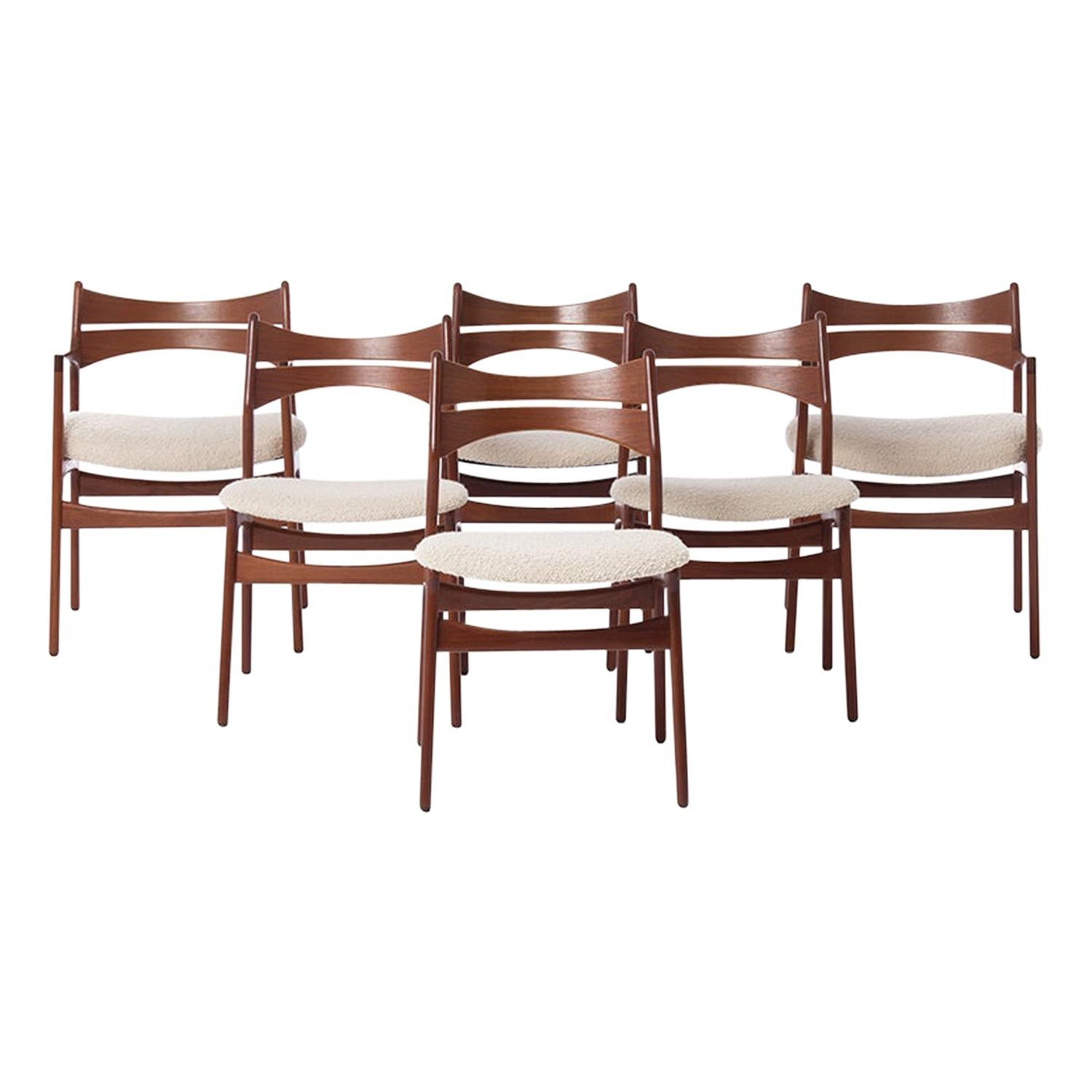Danish Modern Dining Chairs by Erik Buch, Set of Six