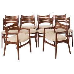 Danish Modern Dining Chairs by Erik Buch, Set Six