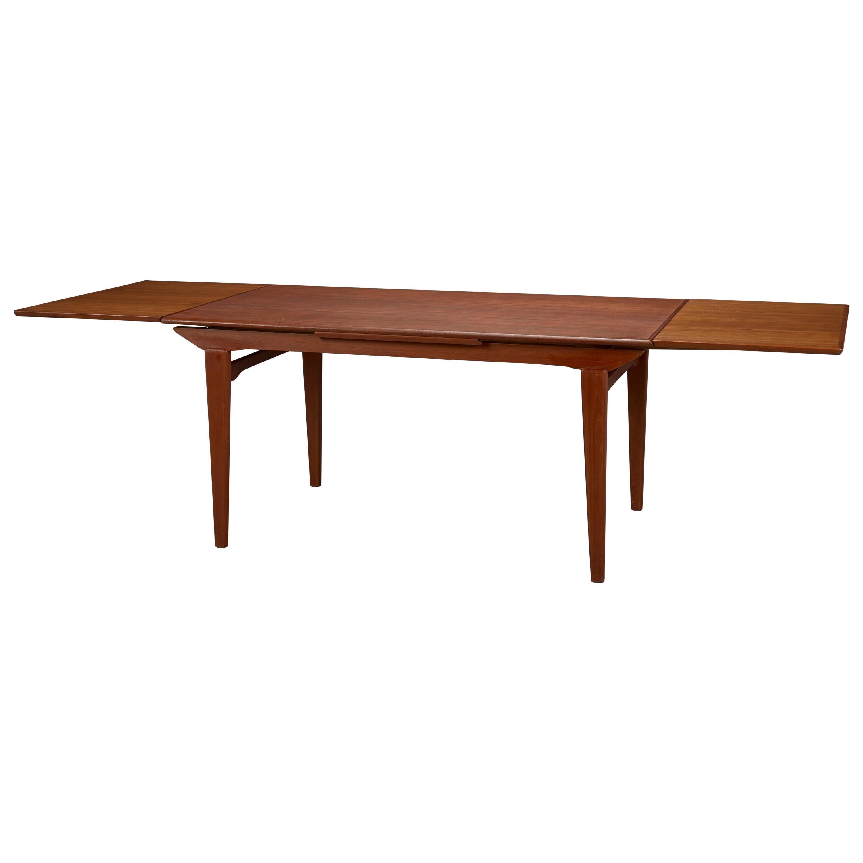 Danish Modern Dining Table with Two Pull-Out Leaves