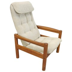 Danish Modern Domino Mobler Tufted High-Back Teak Lounge Chair