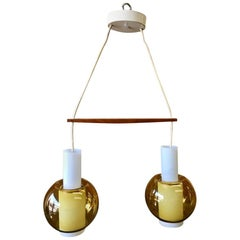 Danish Modern Double Glass Pendant Light by Nordisk Solar