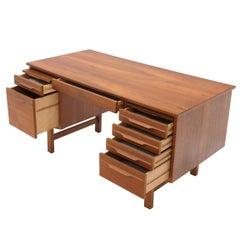Danish Modern Double Pedestal Teak Desk Writing Table