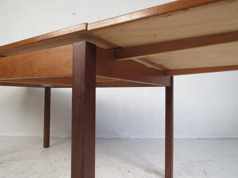 Teak Danish Modern Draw Leaf Dining Table by Ansager Mobler For Sale