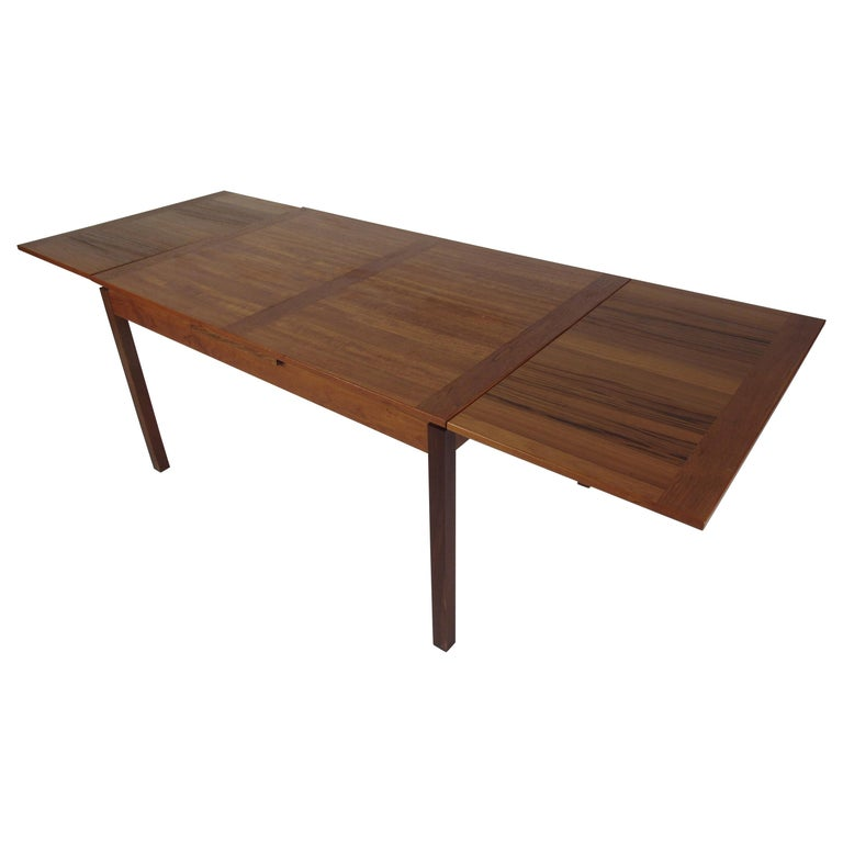 Danish Modern Draw Leaf Dining Table by Ansager Mobler For Sale