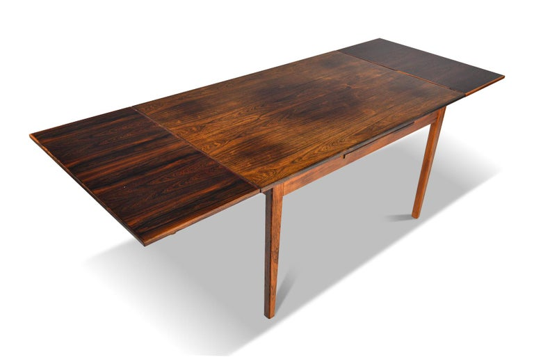 Danish Modern Draw Leaf Rosewood Dining Table by E.W. Bach In Fair Condition For Sale In Berkeley, CA