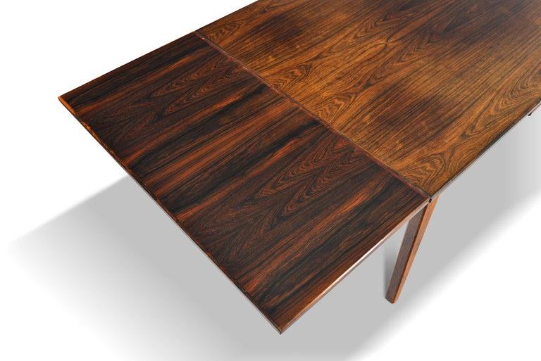 20th Century Danish Modern Draw Leaf Rosewood Dining Table by E.W. Bach For Sale