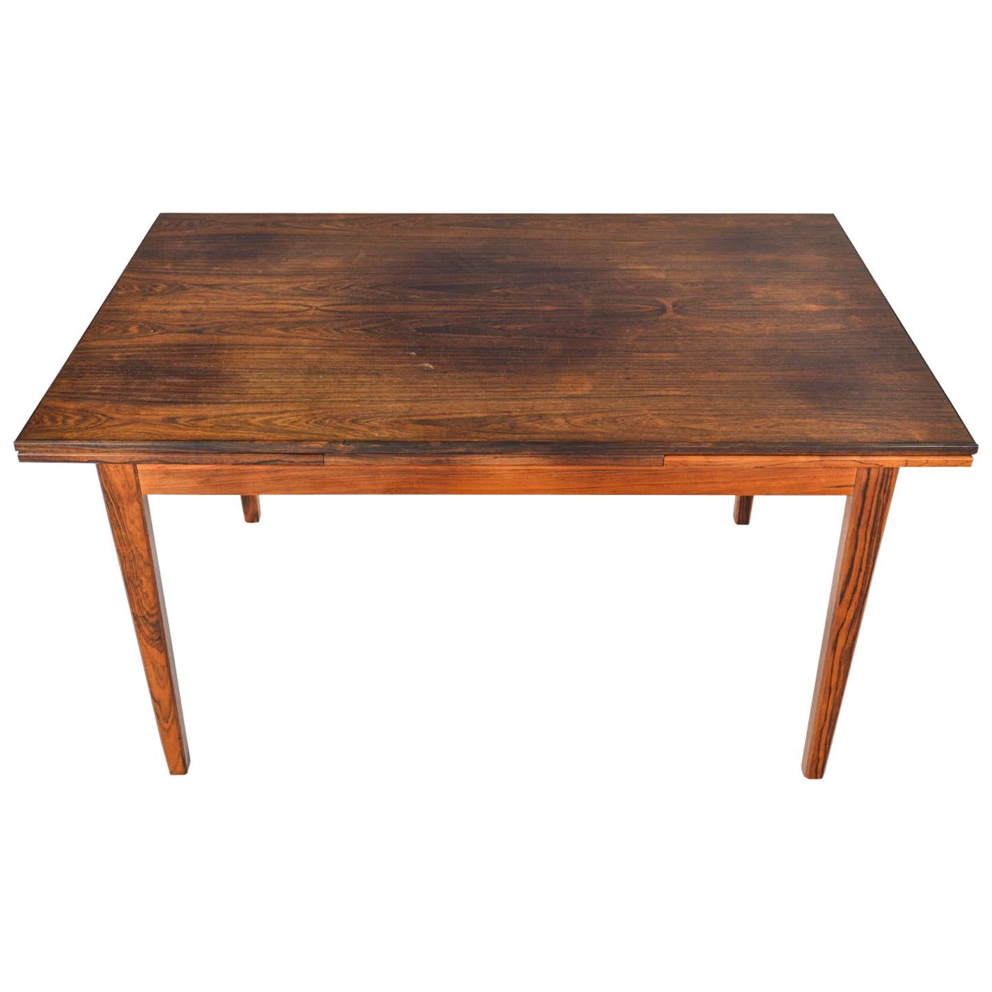 Danish Modern Draw Leaf Rosewood Dining Table by E.W. Bach