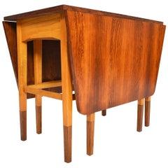 Danish Modern Drop Leaf Rosewood and Oak Console Table