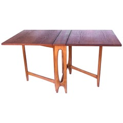Danish Modern Drop-Leaf Teak Table by Bendt Winge for Kleppes Møbelfabrikk