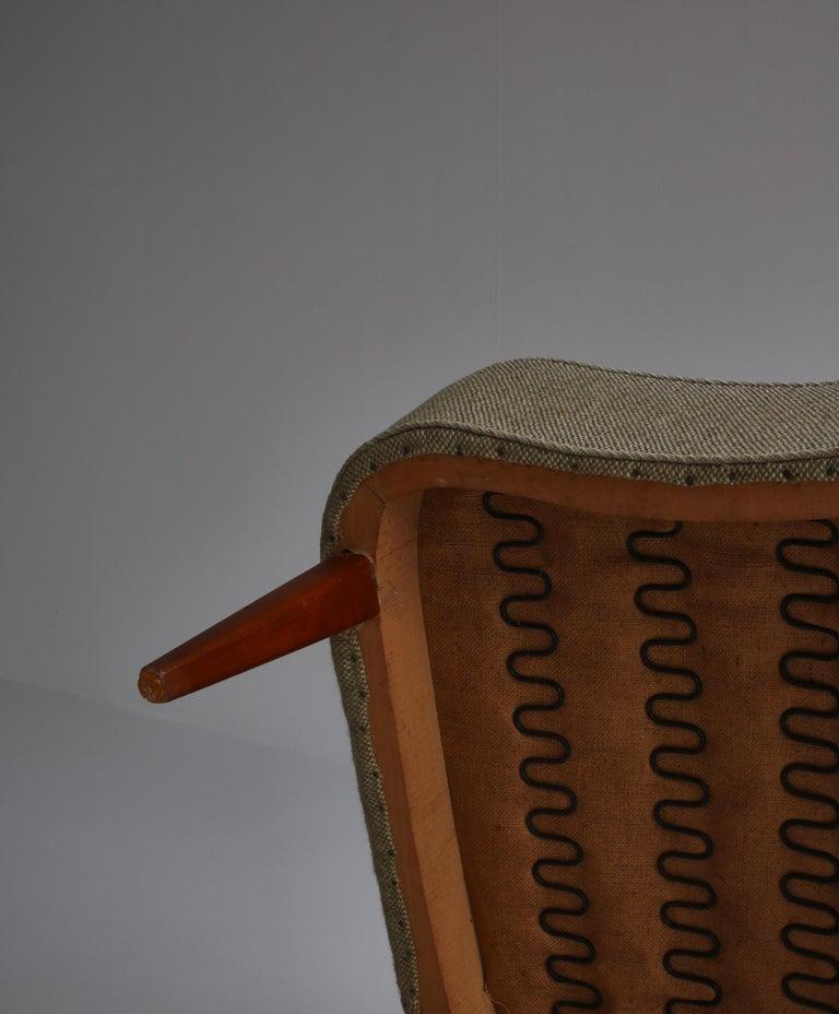 Danish Modern Easy Chair in Beech & Wool Upholstery by Hvidt & Mølgaard, 1950s For Sale 8
