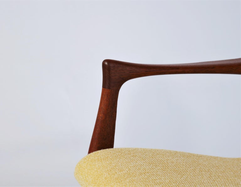 Vintage Danish modern easy chair in solid teak wood and yellow/white
